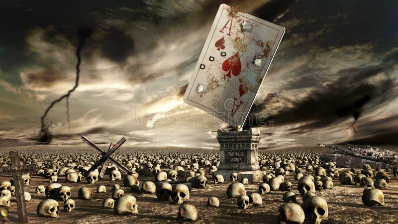 Céu tormentoso sobre o campo de batalha abandonado ilustração royalty free