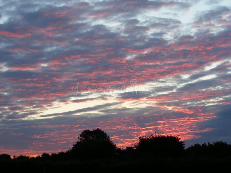 Céu vermelho no alvorecer foto de stock royalty free