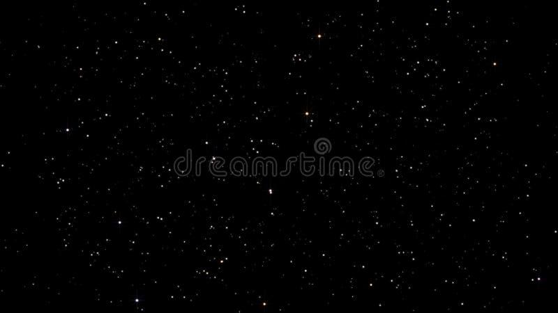 Céus estrelados da noite com cintilação e ilustração das estrelas piscar ilustração stock