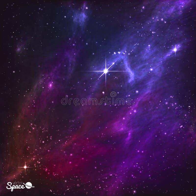 Céus noturnos coloridos com polaris e a nebulosa roxa Ilustração do vetor ilustração stock