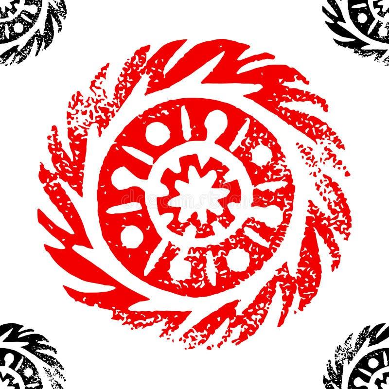 Círculo étnico, tribal, nativo, mandala Linocut dibujado mano Modelo inconsútil Ornamento africano, mexicano, indio, oriental ilustración del vector
