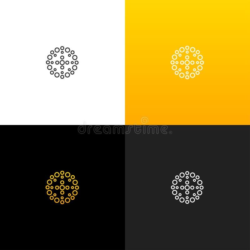 Círculo abstracto con el logotipo de los puntos Logotipo linear para las compañías y las marcas con una pendiente amarilla ilustración del vector