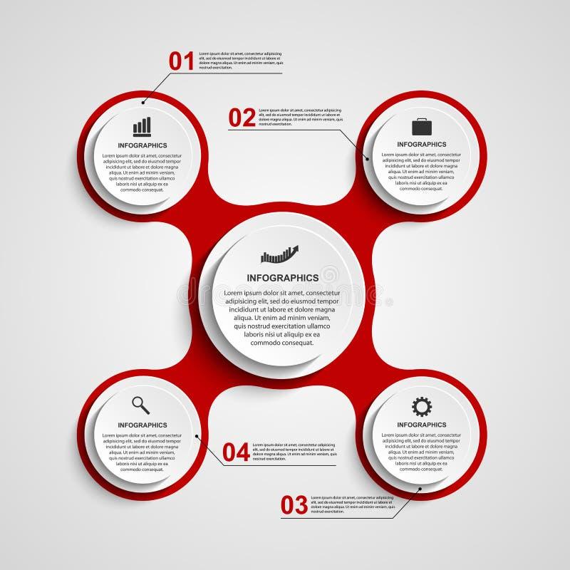 Círculo abstracto infographic bajo la forma de metabólico Elementos del diseño ilustración del vector