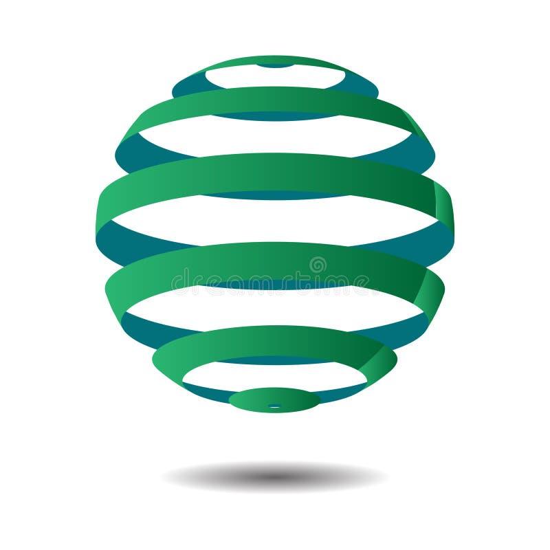 Círculo abstracto Logo Design, vector del espiral del globo 3D Logotipo del círculo con la sombra stock de ilustración