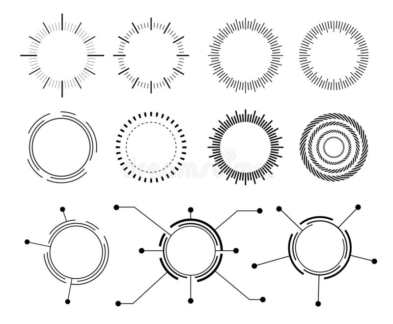 Círculo abstrato do techno ícones ajustados do vetor ilustração do vetor