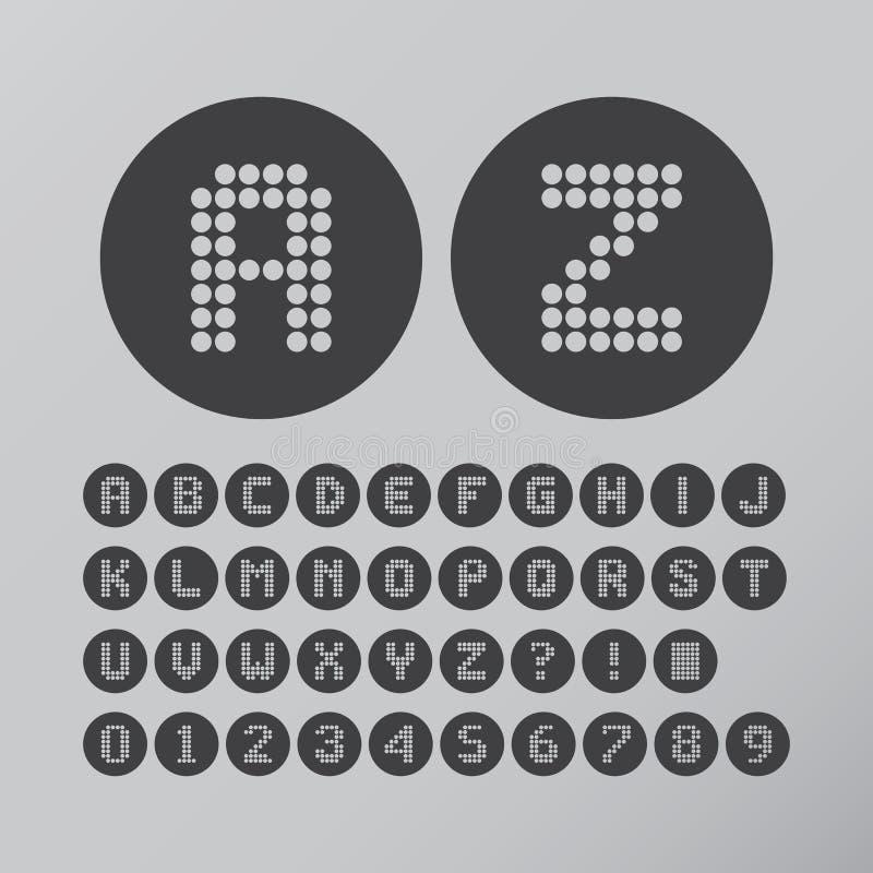 Círculo abstrato Dot Font e números ilustração stock
