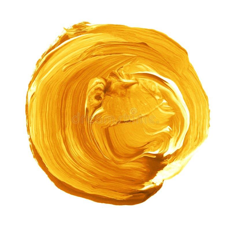 Círculo acrílico isolado no fundo branco Amarelo, forma redonda alaranjada da aquarela para o texto Elemento para o projeto difer fotografia de stock