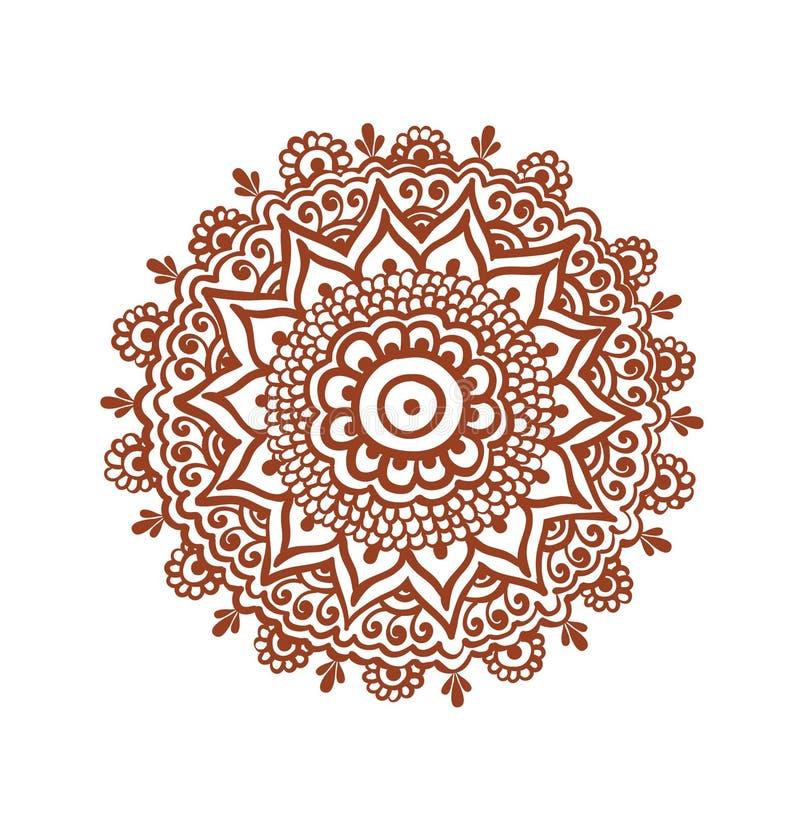 Círculo adornado, mandala - tatuaje indio de la alheña Vector étnico de Mehendi stock de ilustración