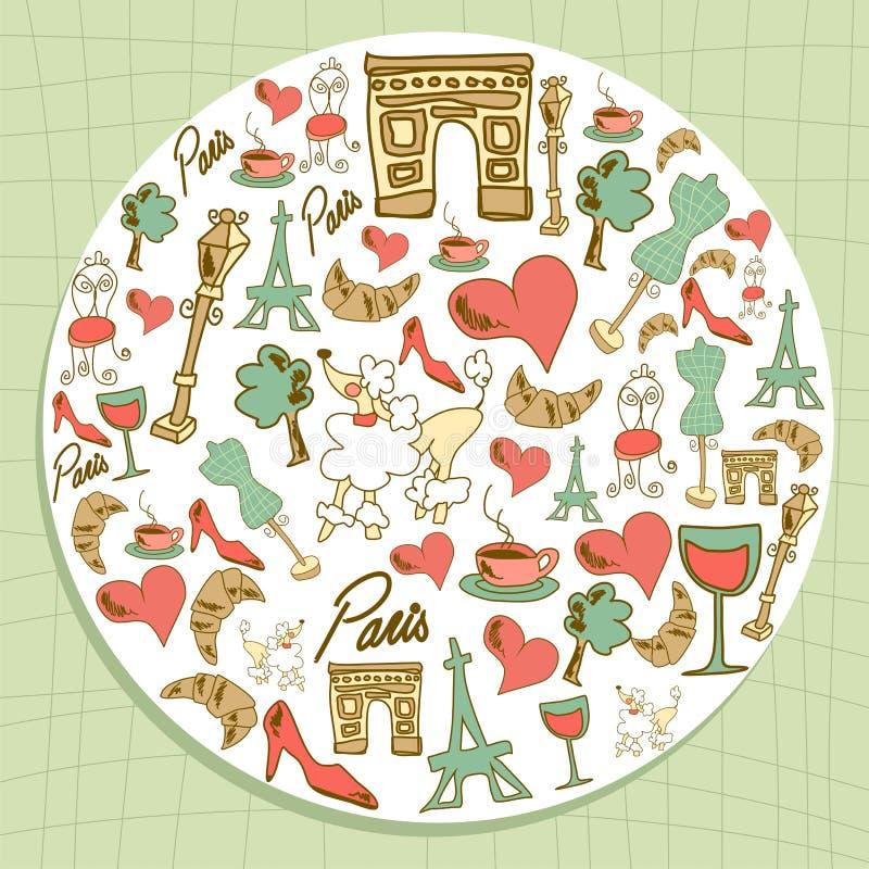 Círculo ajustado do ícone de Paris do curso ilustração royalty free