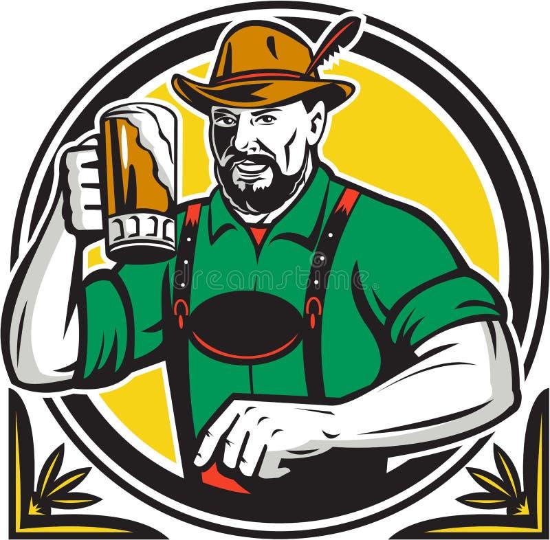 Círculo alemán del bebedor de cerveza de Oktoberfest retro ilustración del vector