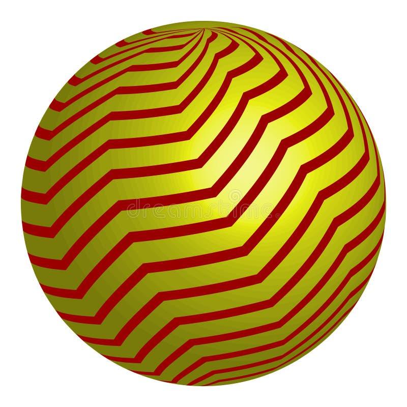 Círculo amarillo abstracto Logo Design Vector Círculo amarillo con las líneas rojas stock de ilustración