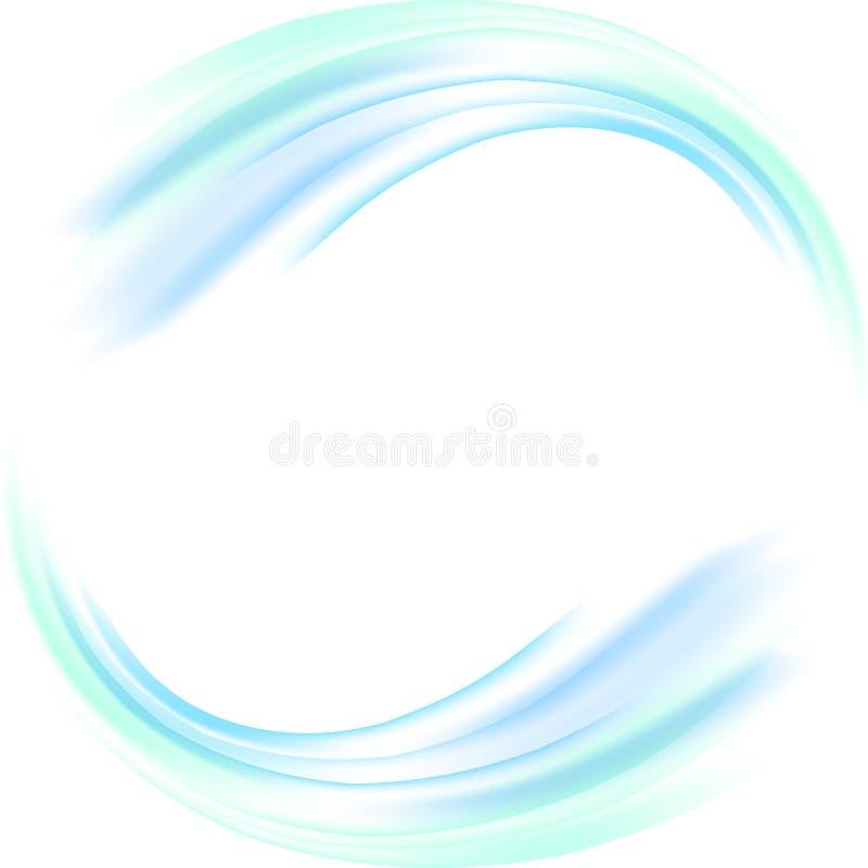 Círculo azul abstrato do redemoinho no fundo branco Ilustração do vetor para você projeto moderno Quadro ou bandeira redonda com ilustração stock
