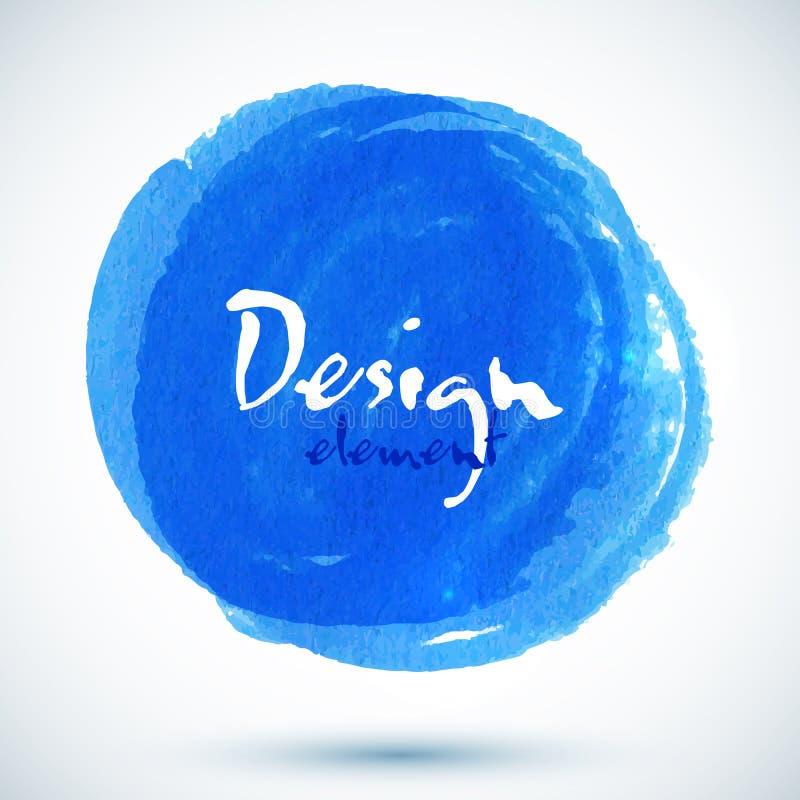 Círculo azul brilhante do vetor da aguarela ilustração stock