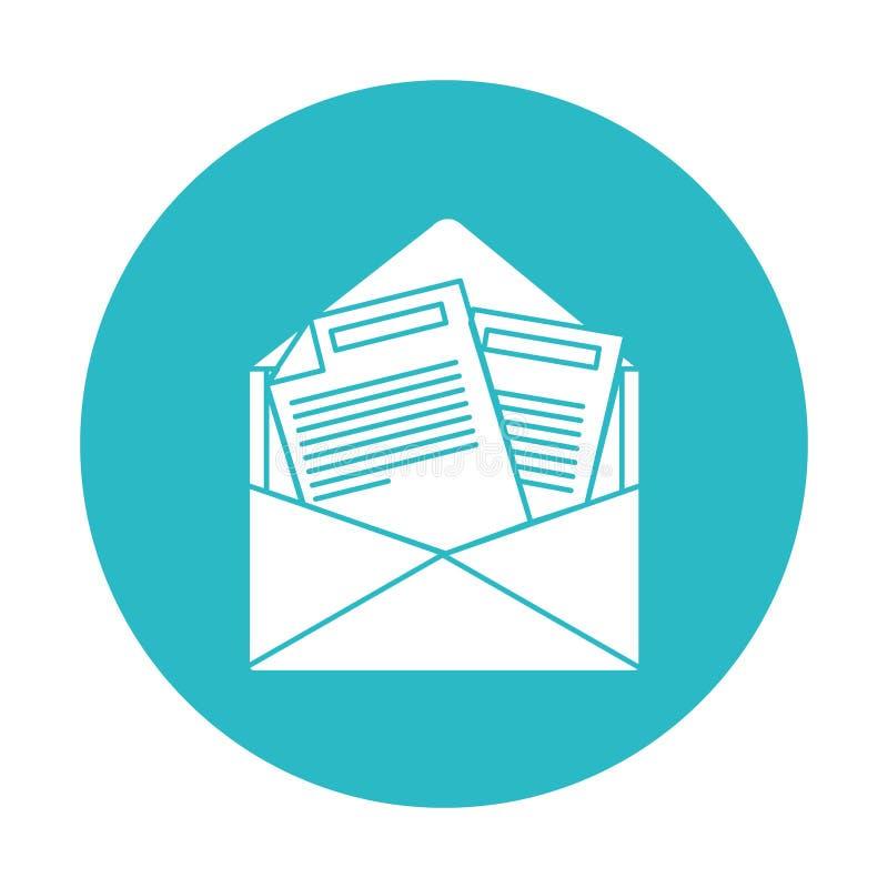 Círculo azul claro con el correo abierto del sobre ilustración del vector