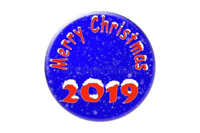 Círculo azul con una enhorabuena del Año Nuevo 2019 con nieve foto de archivo