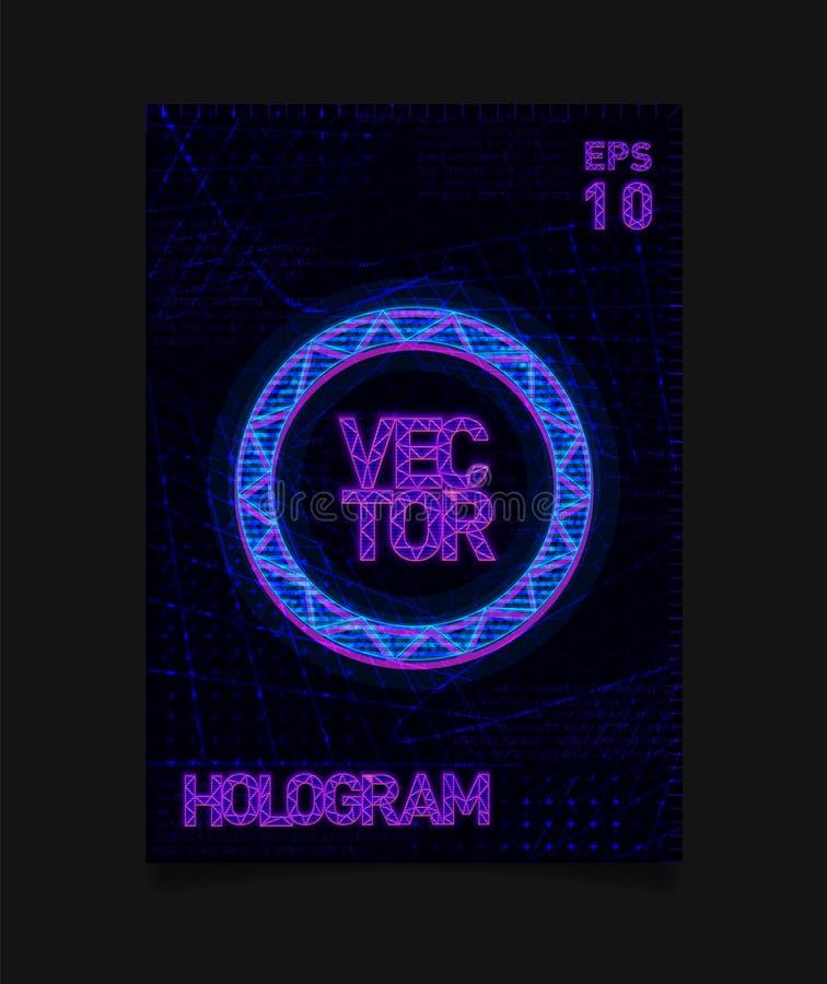 Círculo azul de HUD do holograma futurista com efeito do holograma e textura futurista no fundo Projeto para o cartaz, inseto ilustração stock