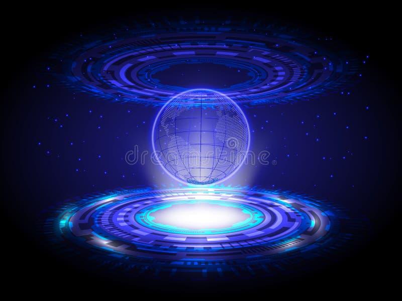 Círculo azul del mapa del mundo del holograma de la tecnología, CCB abstracto del holograma imágenes de archivo libres de regalías