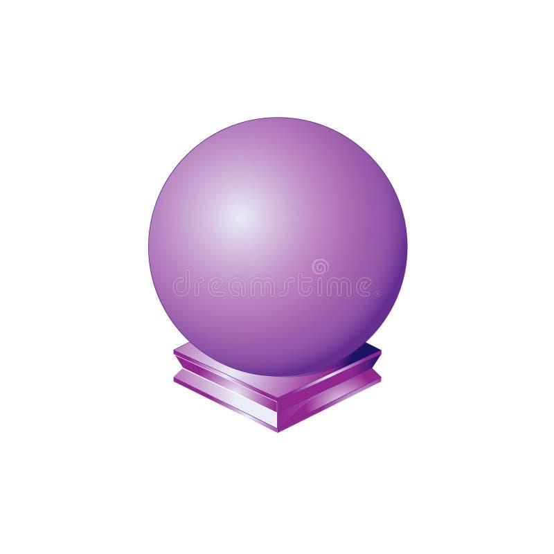 Círculo básico de la bola redonda de la esfera de la forma geométrica púrpura del orbe, figura sólida solo icono en blanco brilla libre illustration