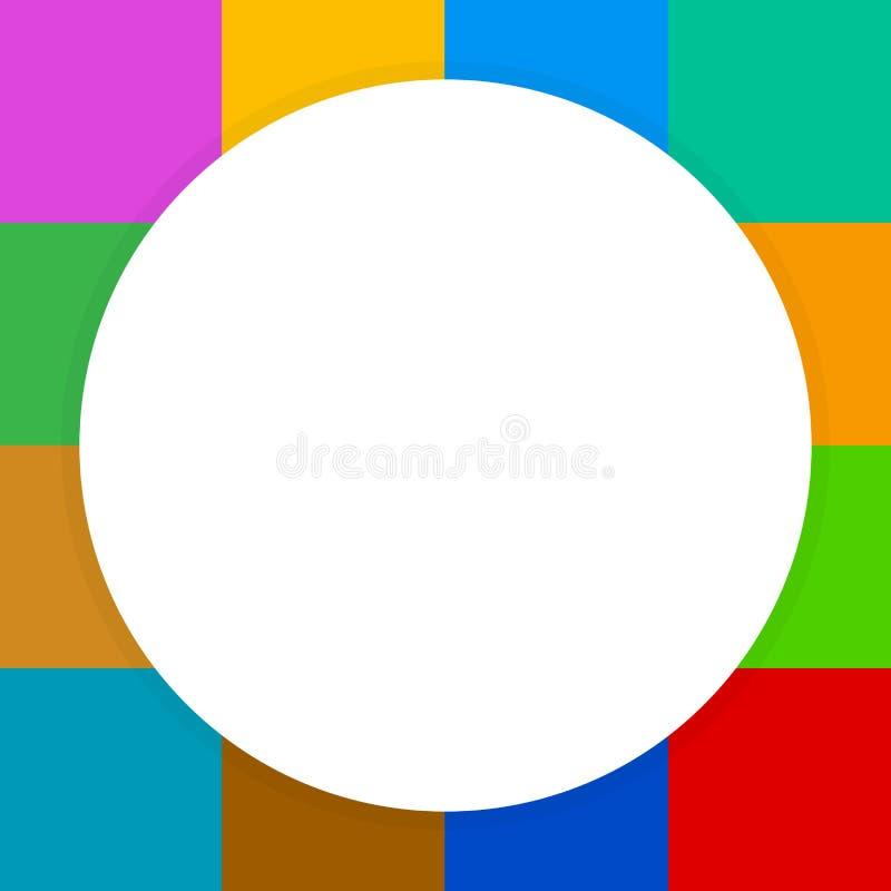 Círculo blanco vacío de la bandera en los cuadrados coloridos bloque a cuadros, arco iris del multicolor del inspector de la ba libre illustration