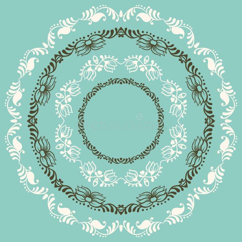 Círculo botánico abstracto, fondo del vector stock de ilustración