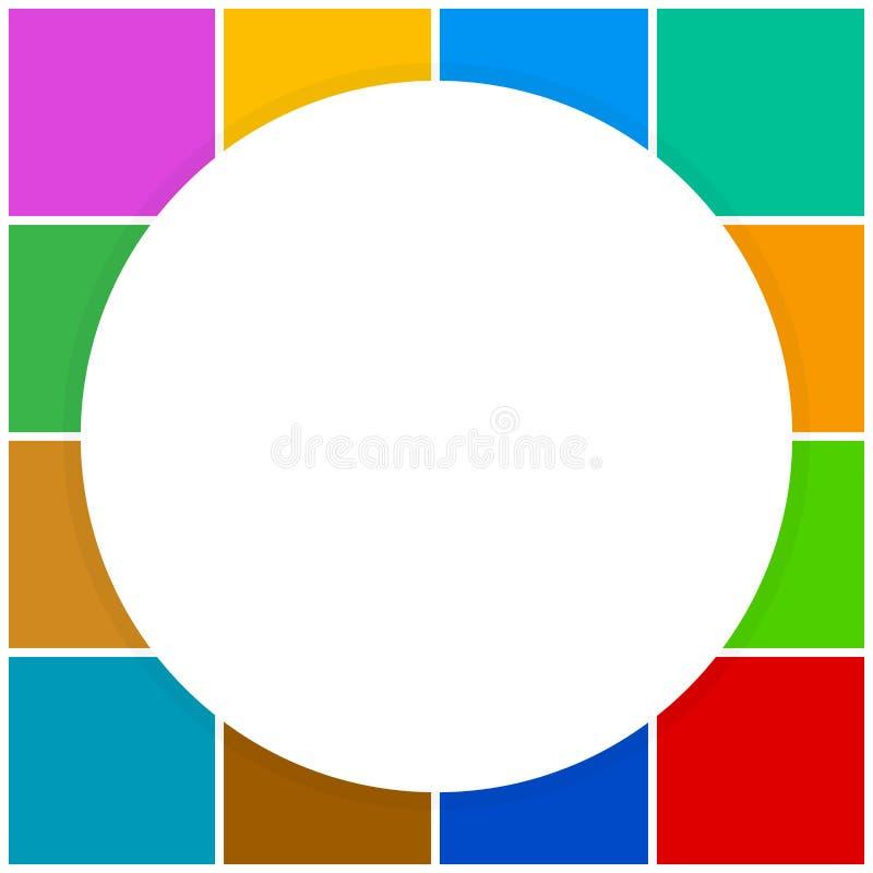 Círculo branco vazio da bandeira em quadrados coloridos bloco quadriculado, arco-íris da cor do verificador da bandeira do mold ilustração royalty free