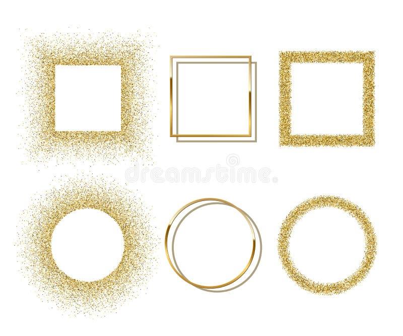 Círculo brilhante dourado e quadros quadrados com as sombras isoladas no fundo branco Beira realística luxuosa dourada do vetor ilustração stock