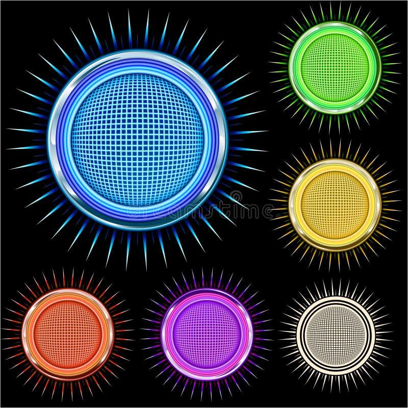 Círculo brilhante lustroso da estrela do cromo nas cores ilustração do vetor