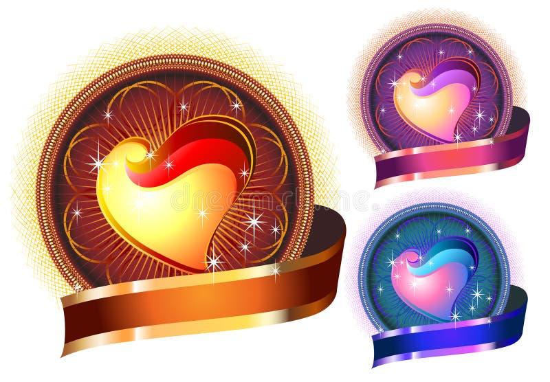 Círculo brilhante lustroso do coração nas cores ilustração stock
