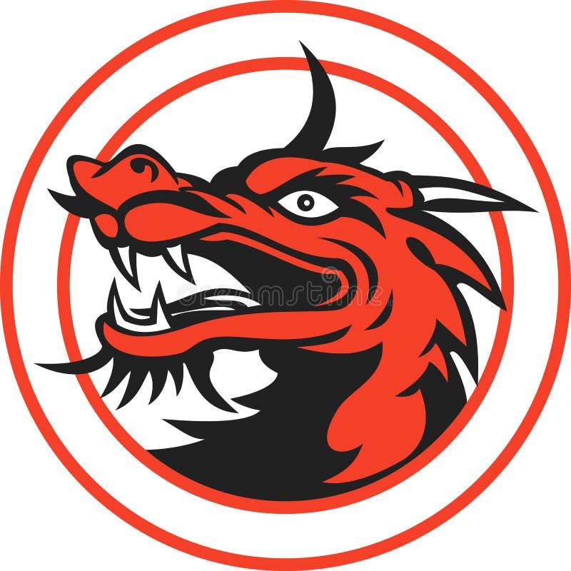 Círculo chinês vermelho da cabeça do dragão ilustração do vetor