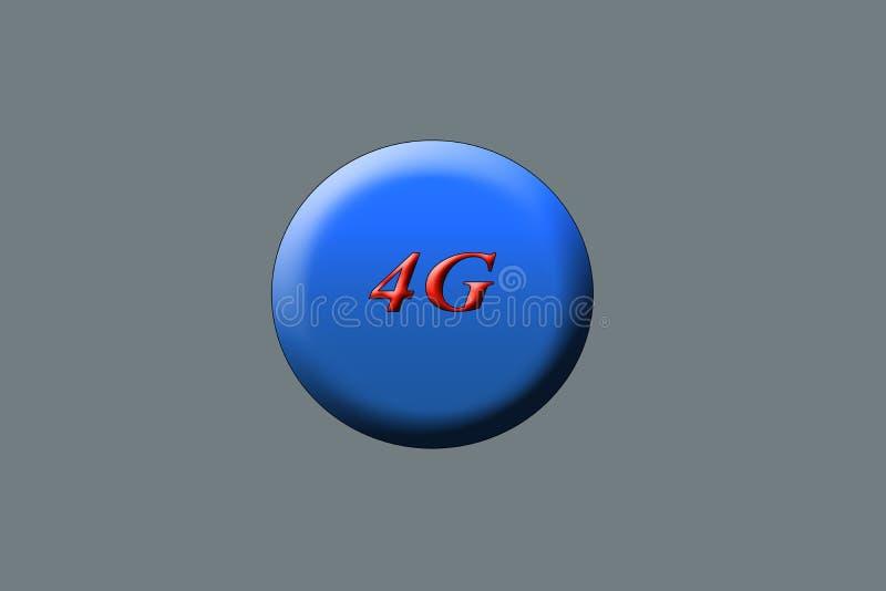 Círculo colorido azul com 4g escrito no centro com vermelho colorido no fundo cinzento ilustração stock