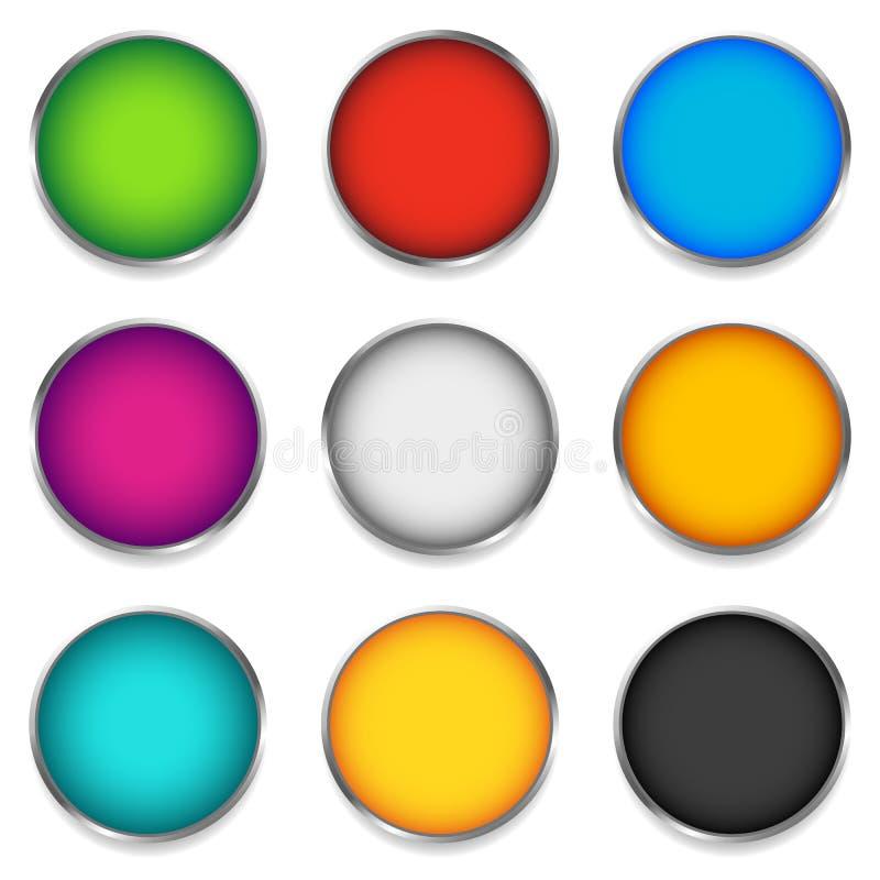 Círculo colorido brillante, esfera, iconos del orbe con el espacio en blanco en 9 libre illustration