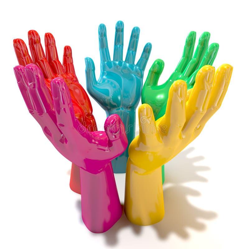 Círculo colorido das mãos que alcança em direção ao céu fotos de stock royalty free