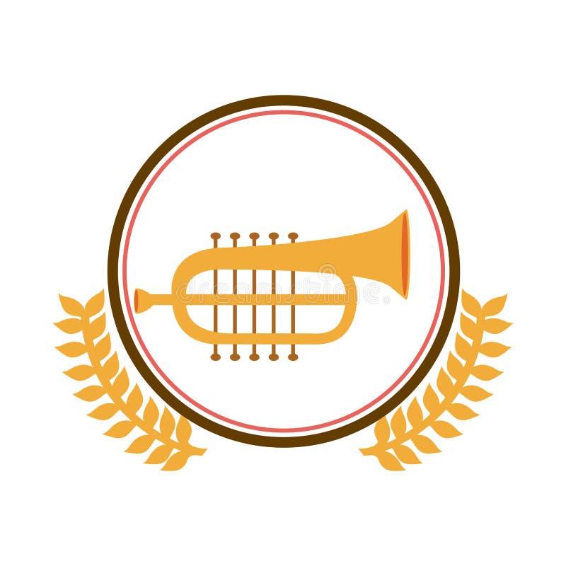 círculo colorido de la silueta con la rama de olivo y la trompeta decorativas ilustración del vector