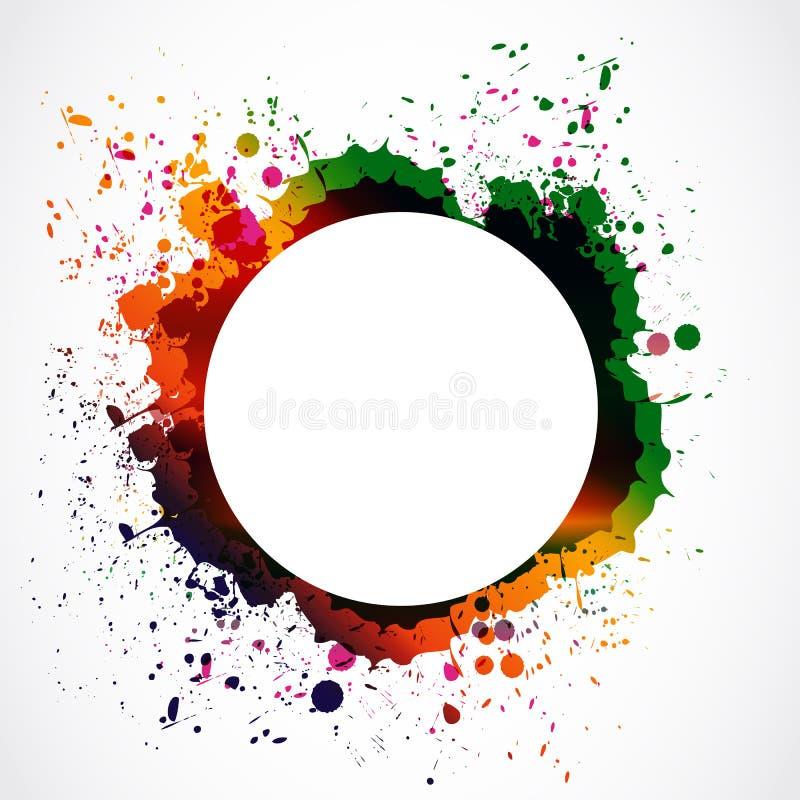 Círculo colorido do respingo da tinta do grunge ilustração do vetor