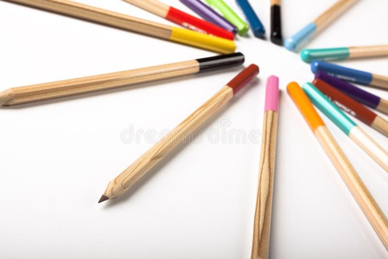 Círculo colorido dos lápis fotos de stock royalty free