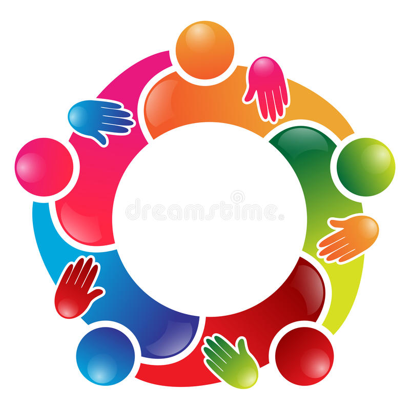 Círculo colorido dos povos do trabalho da equipe
