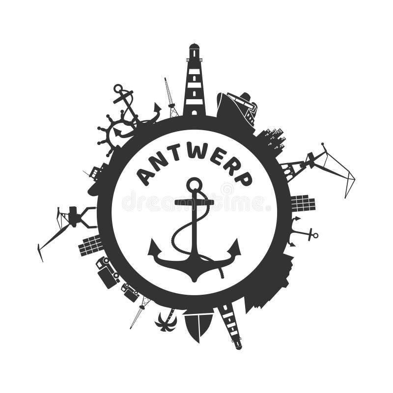Círculo com ícones do porto da carga ilustração stock
