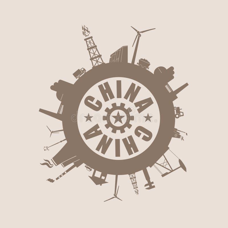 Círculo com as silhuetas do parente da indústria Texto de China ilustração stock
