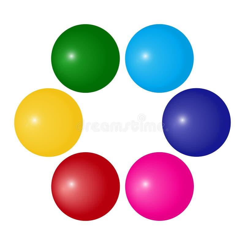 Círculo com bola colorida, quadro decorativo para seu texto Vetor ilustração royalty free