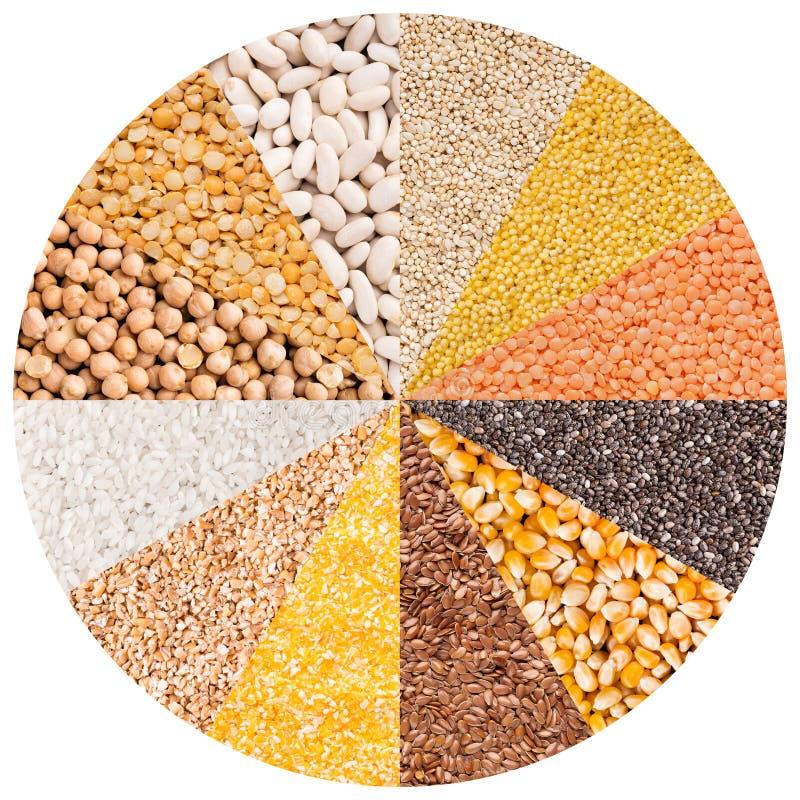 Círculo con diversos tipos de granos aislados en blanco imagenes de archivo