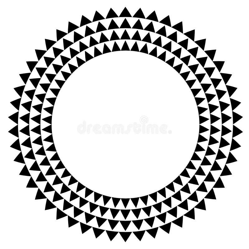 Círculo con el terraplén del triángulo - circunde el elemento con el isolat de los triángulos stock de ilustración
