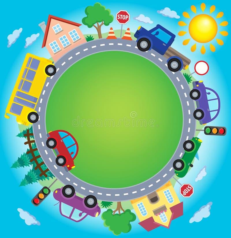 Círculo con la imagen 2 del tema de los coches stock de ilustración