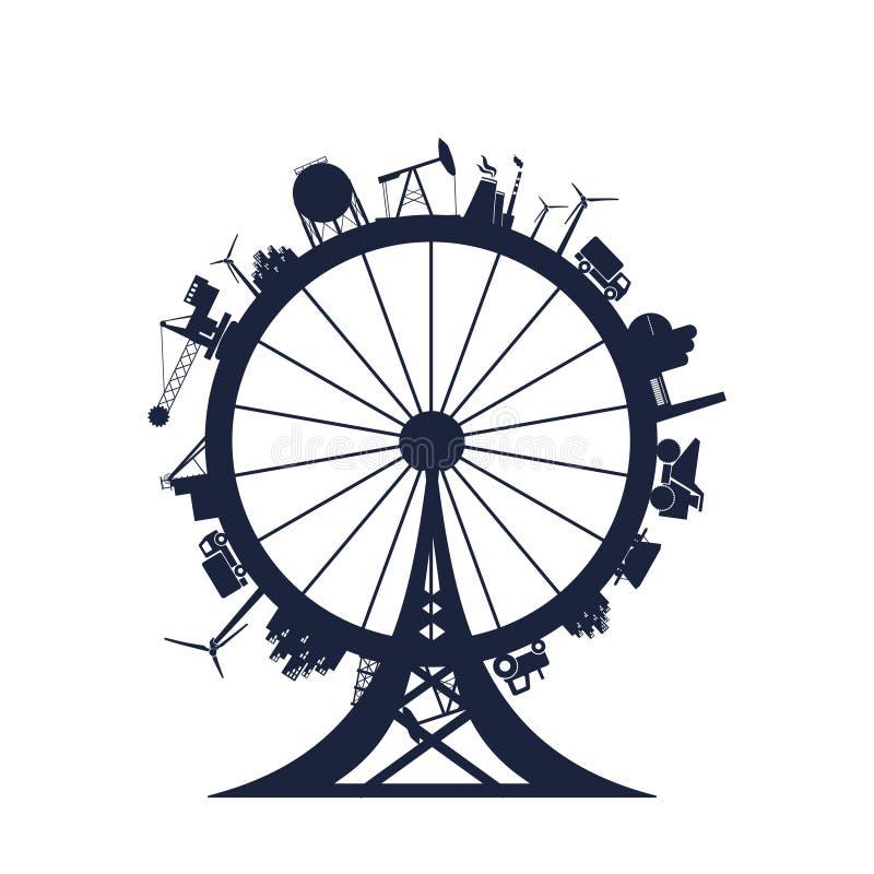 Círculo con las siluetas del pariente de la industria stock de ilustración