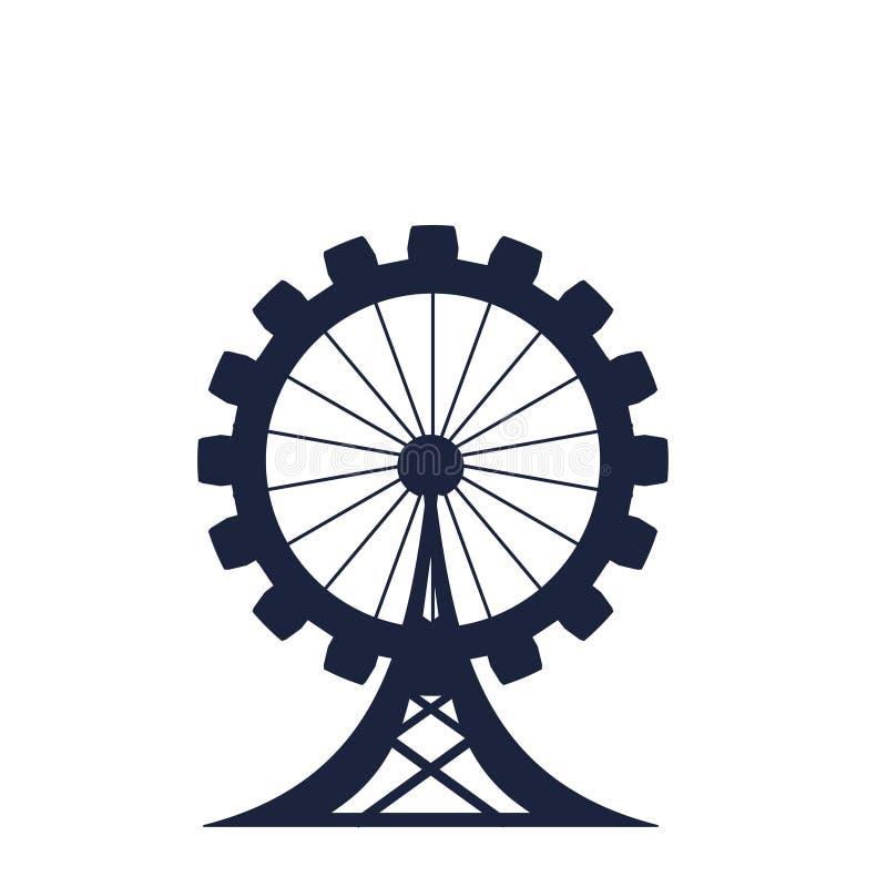Círculo con las siluetas del pariente de la industria libre illustration