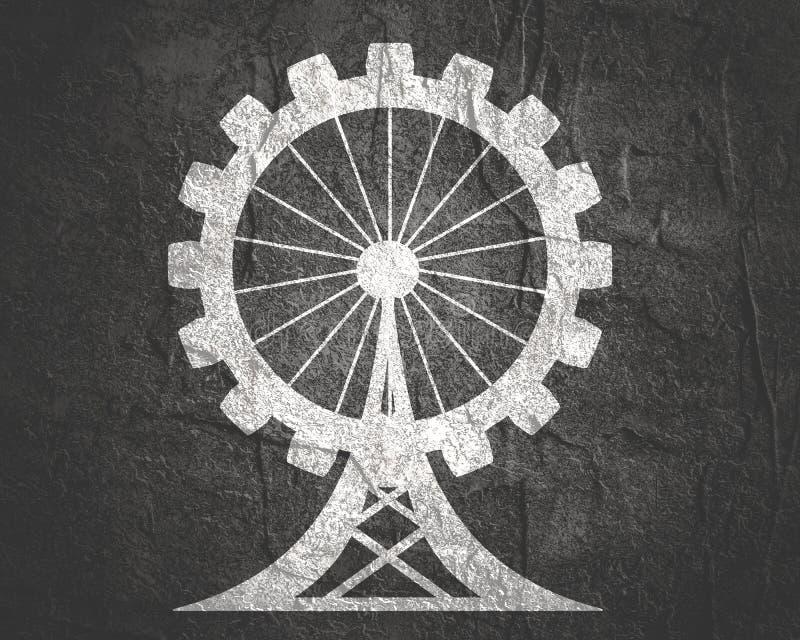 Círculo con las siluetas del pariente de la industria ilustración del vector