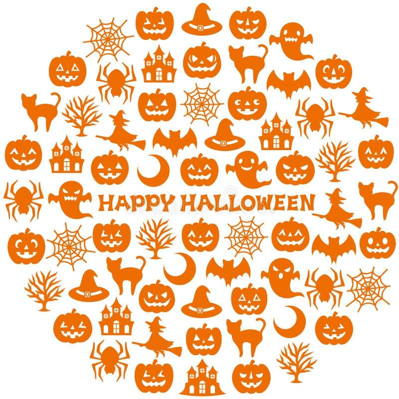 Círculo con los iconos de Halloween stock de ilustración