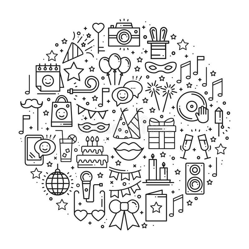 Círculo con símbolos del partido en la línea estilo Tema básico del concepto de los elementos del cumpleaños Impresión redonda de ilustración del vector