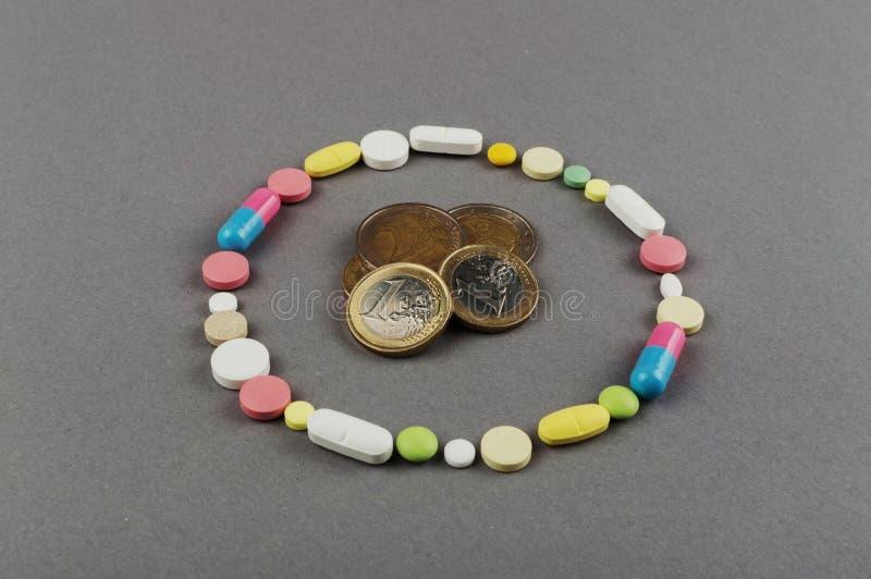Círculo criado dos comprimidos coloridos com o dinheiro Conceito MÉDICO fotos de stock royalty free