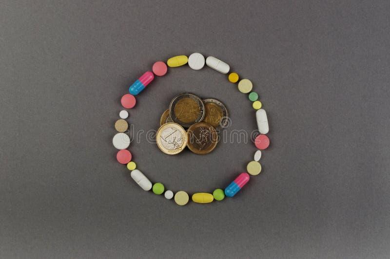 Círculo criado dos comprimidos coloridos com o dinheiro Conceito MÉDICO imagens de stock