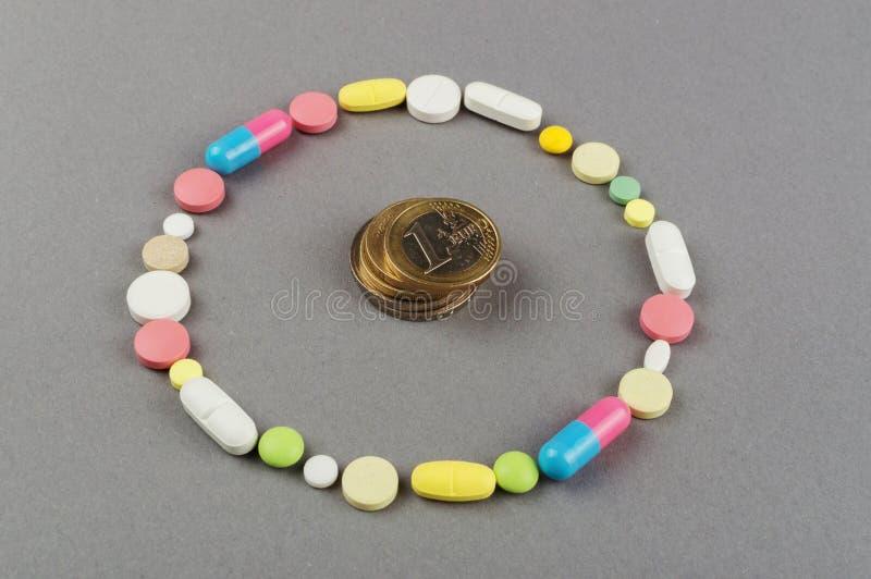 Círculo criado dos comprimidos coloridos com o dinheiro Conceito MÉDICO imagem de stock royalty free